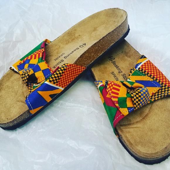 3fabb9b3e5116 Kente African Print Beaking Stock Sandals Boutique